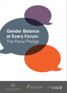 Cover of 'Gender balance at every forum: The panel pledge' showing three speech bubbles in different colours on a white background.