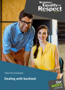 Cover of Practice guidance: Dealing with backlash showing two young workers, a man and woman, smiling at camera.