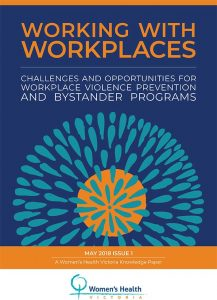 Cover of resource, Working with workplaces challenges and opportunities for workplace violence prevention and bystander programs