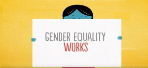 Screenshot from video showing an animated woman holding up a sign saying 'gender equality works'