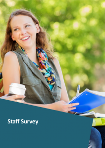 Cover of the Workplace Equality and Respect Staff Survey showing young woman looking happy in front of a leafy background, looking away from camera.