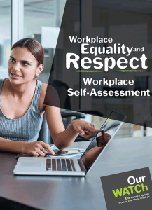 Cover of the Workplace Equality and Respect self-assessment guide showing a woman at a desk at work, pointing to a laptop.
