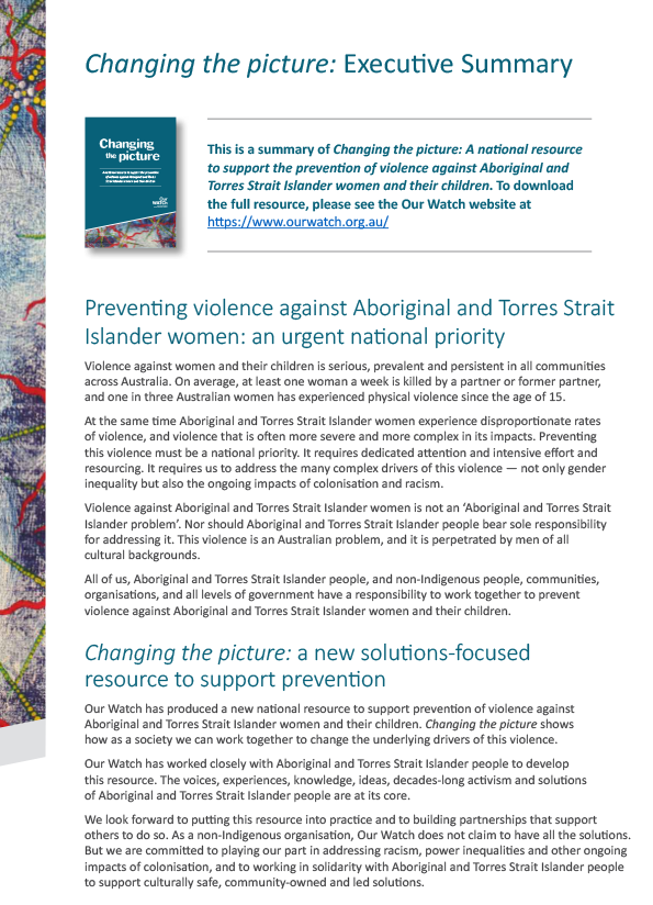 Screenshot of cover page of Changing the story exec summary showing mostly teal coloured headlines on white background