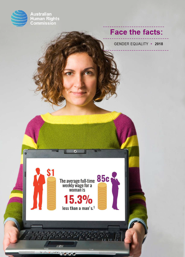 Cover of resource showing woman with dark hair and a bright jumper looking at camera and holding a laptop showing an infographic about the gendered wage gap.