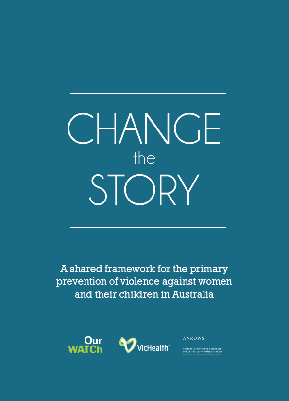 Cover of Change the story publication with white writing on a teal background.