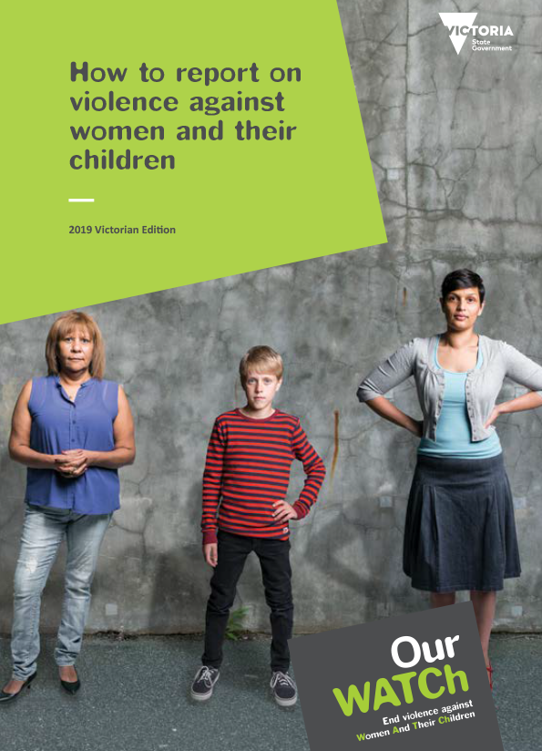 Cover of publication showing three people standing against a concrete background looking directly at camera with green header for title and Our Watch logo.