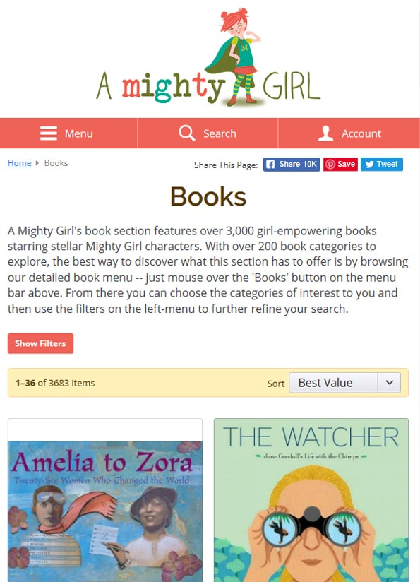 Screenshot of A Mighty Girl booklist website.