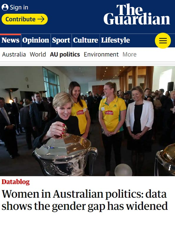 Screenshot of The Guardian article showing former Liberal party deputy leader Julie Bishop.