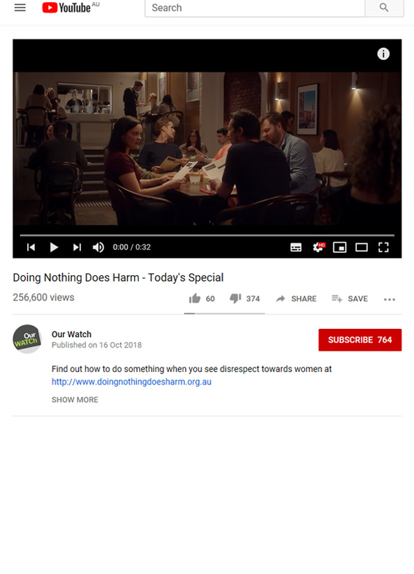 Screenshot of Doing nothing does harm video.