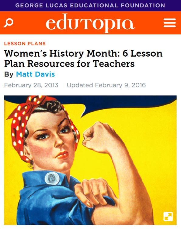 Screenshot of website resource showing famous image of Rosie the Riveter