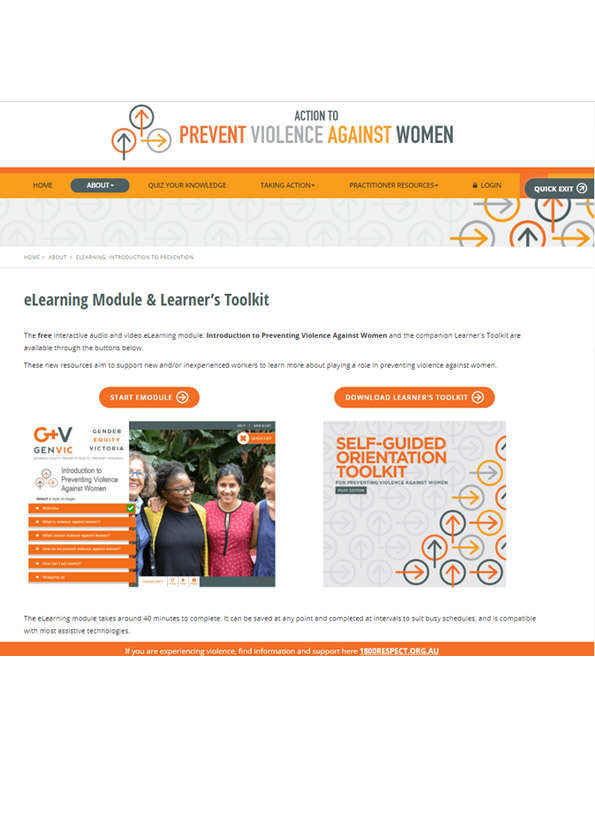 Cover of eLearning module: Introduction to preventing violence against women.