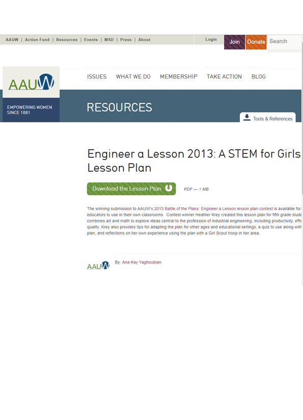 Screenshot of lesson plan, Engineer a lesson 2013: A STEM for girls