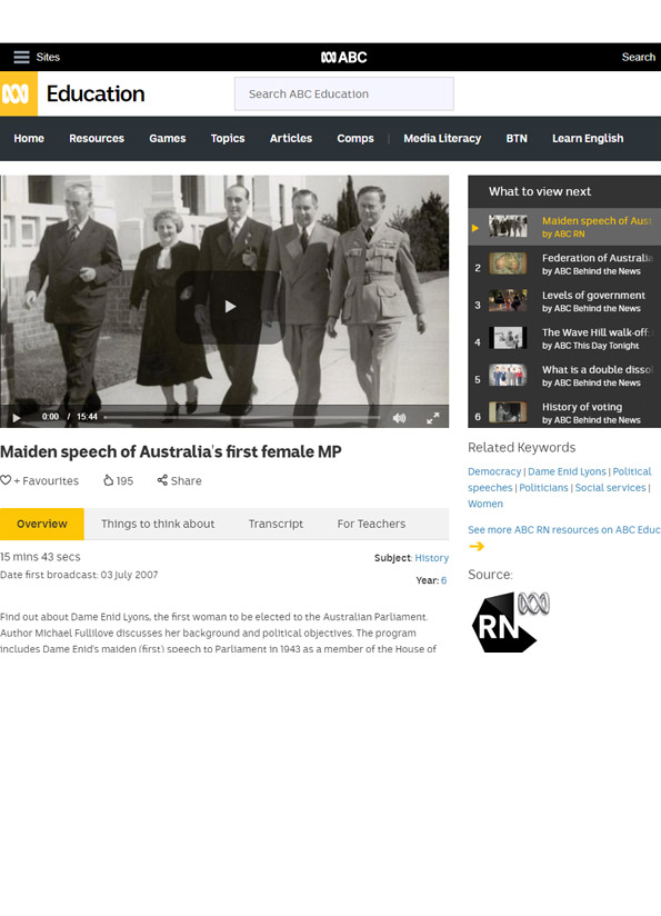 Screenshot of resource website showing video still of five people walking arm in arm, one is Dame Enid Lyons.