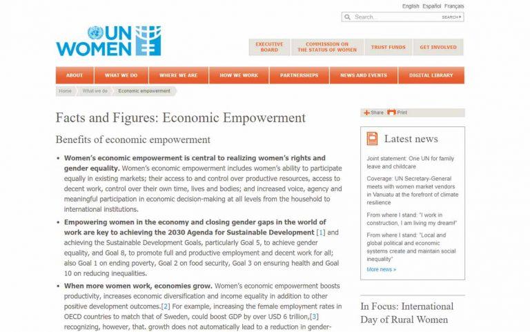 Screenshot of resource website, UN Women