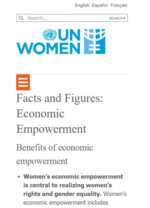 Screenshot of resource website, UN Women