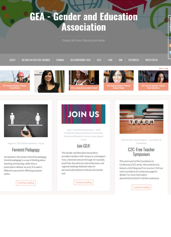 Screenshot of resource website showing multiple photos of women and two photos where dice spell the word 'teach'.