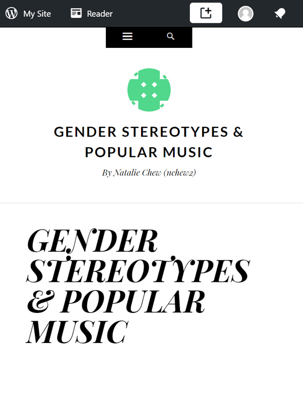 Screenshot of article, Gender stereotypes and popular music. Black text on white background.