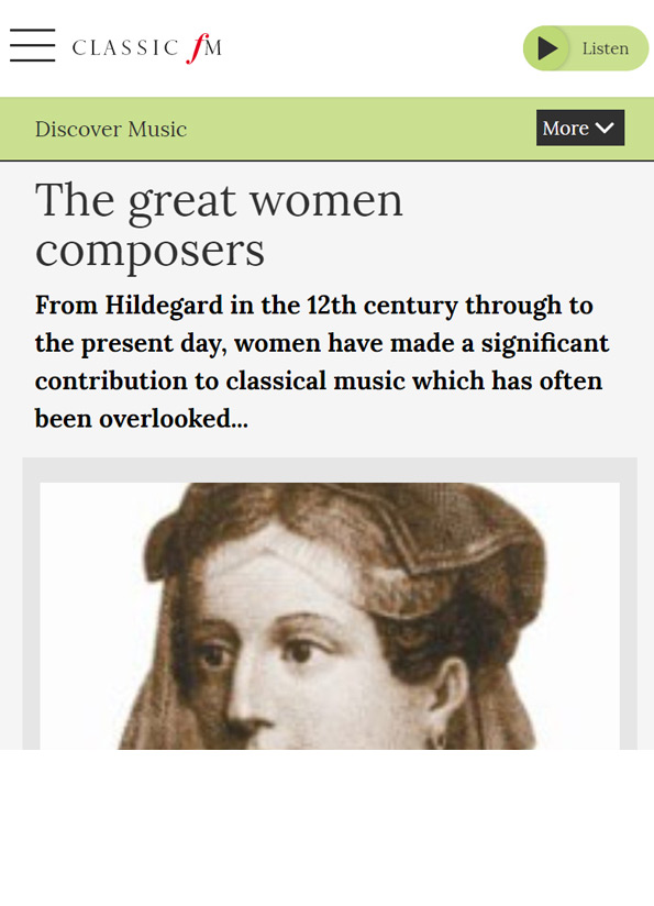 Screenshot of article resource with an image of a C12th woman.