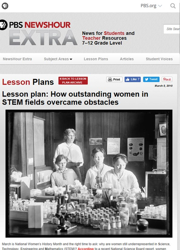 Screenshot of lesson plan, How outstanding women in STEM fields overcame obstacles