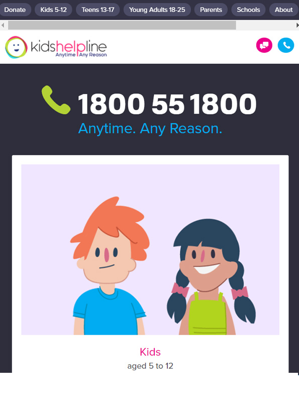 Screenshot of website, Kids Helpline, with a cartoon illustration of two young kids.