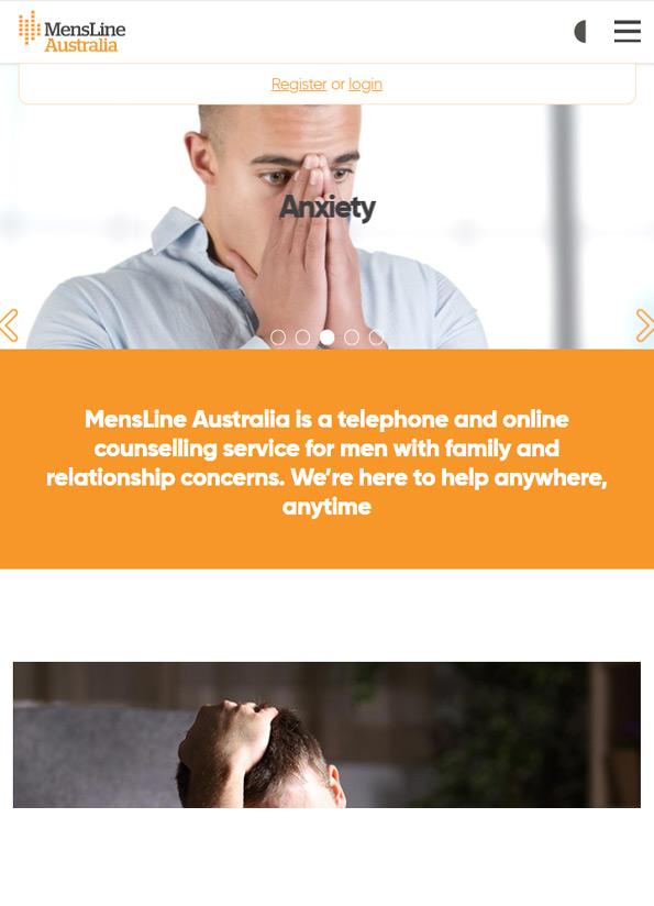 Screenshot of website, MensLine