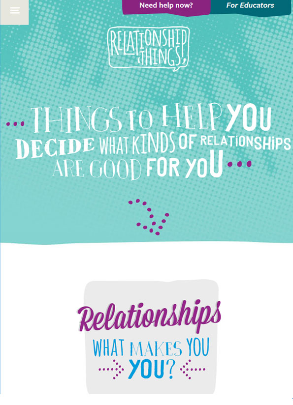 Screenshot of homepage of resource with hand drawn type designed into shapes over bright colours - teal, purple and blue.