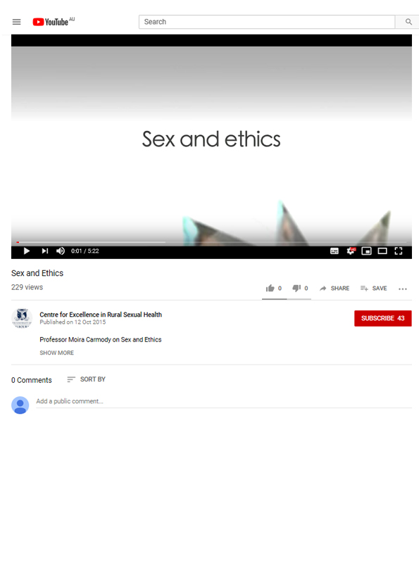 Video still from video resource showing the words 'Sex and ethics' on a white background.