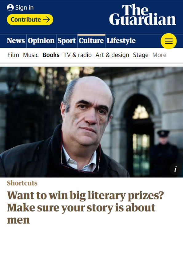Screenshot of article from The Guardian online showing image of middle aged man looking at the camera.