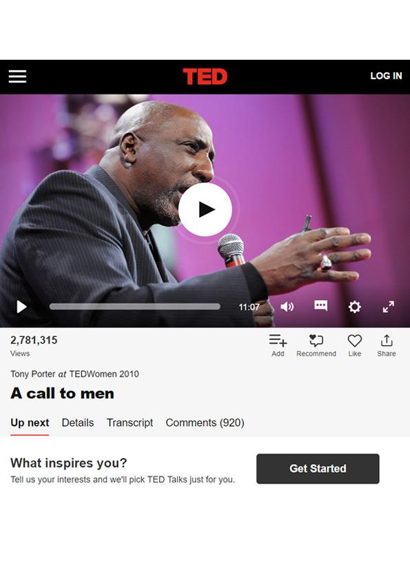 Video still of Tony Porter: A call to men video.