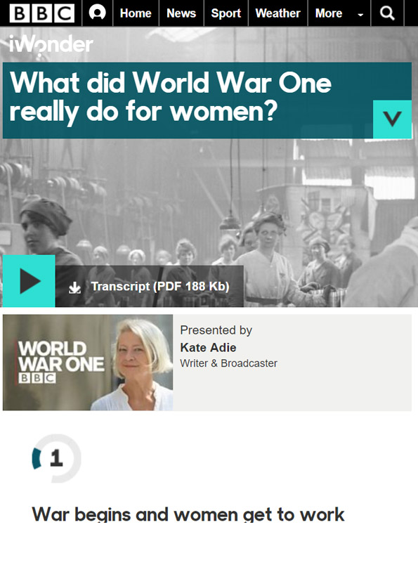 Screenshot of resource website showing image of women working in an early C20th factory.