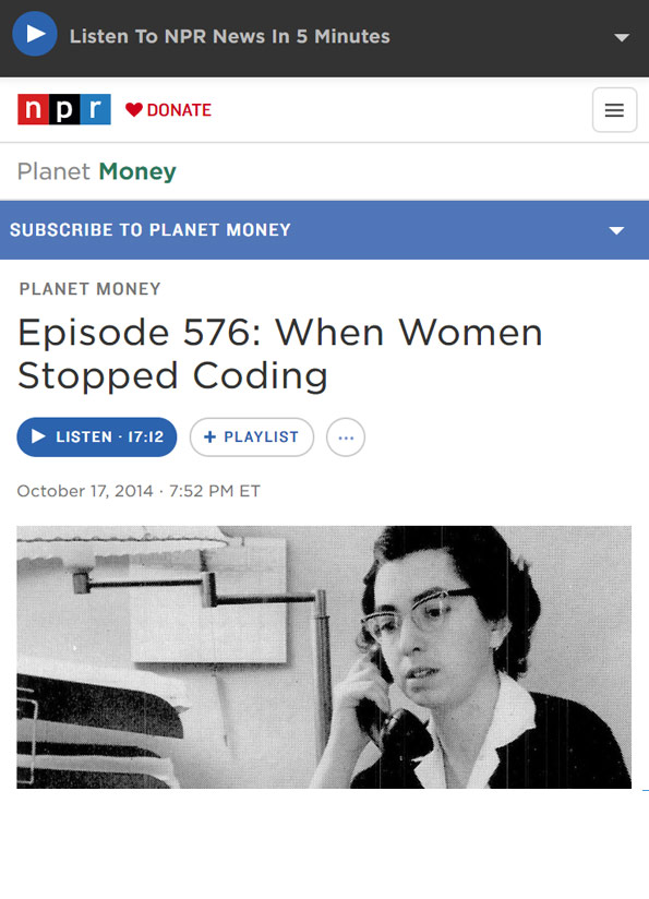 Screenshot of podcast webpage showing 50's image of woman on the telephone.