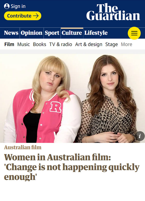 Screenshot of resource article from The Guardian online with an image showing Rebel Wilson in a pink baseball jacket and another woman in a patterned shirt.