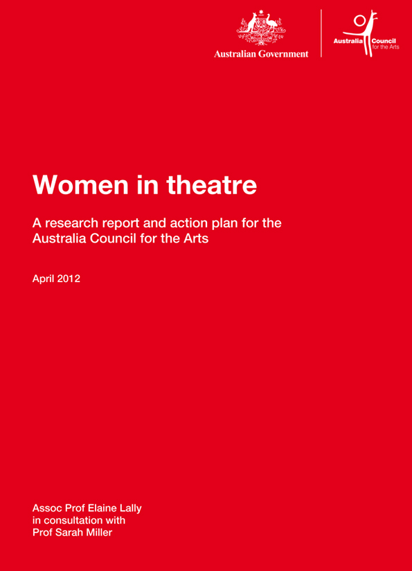Cover of Women in theatre report showing white text on red background.