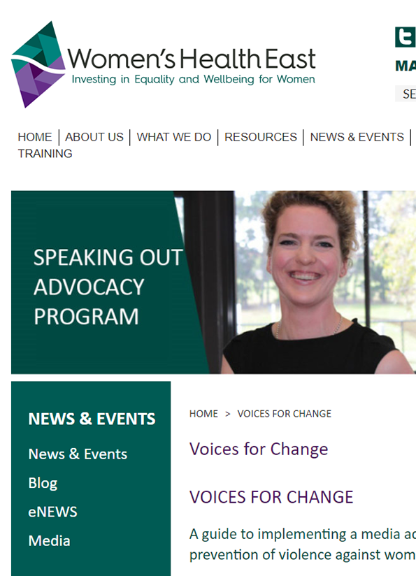Screenshot of the resource webpage with dark green and purple colours on white and an image of a smiling woman.