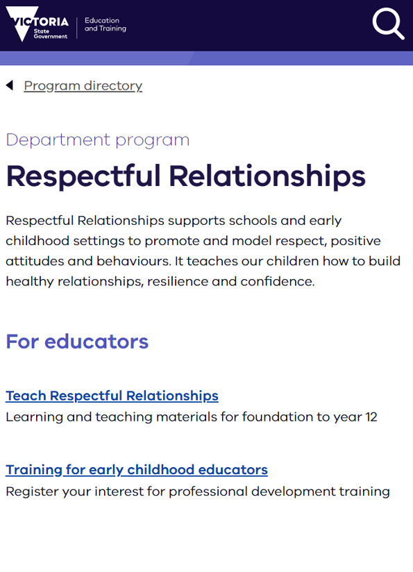 Screenshot of video, Respectful relationships education at Yarra Hills Secondary College.