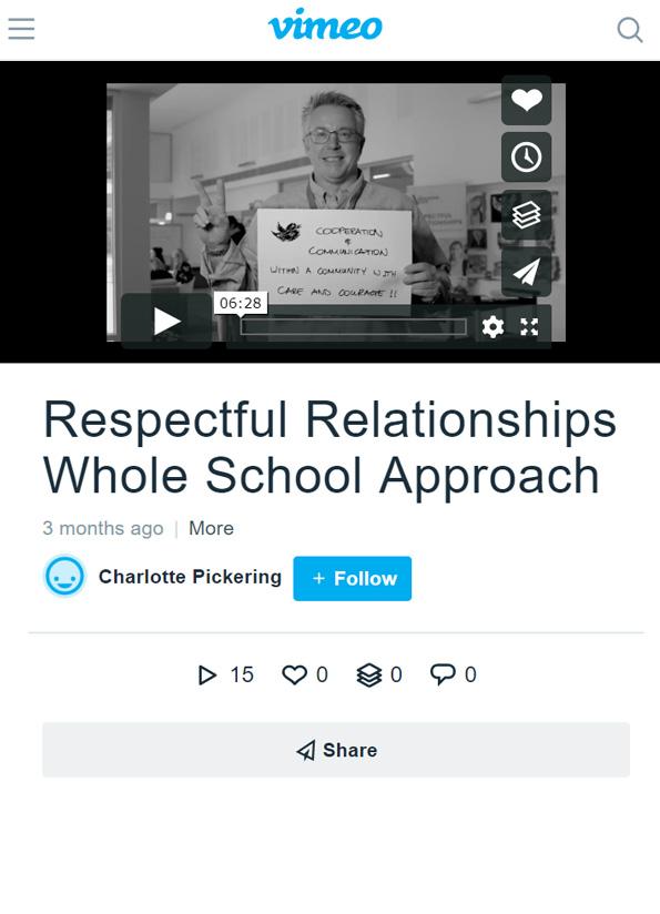 Screenshot of video, Respectful relationships: Whole school approach.