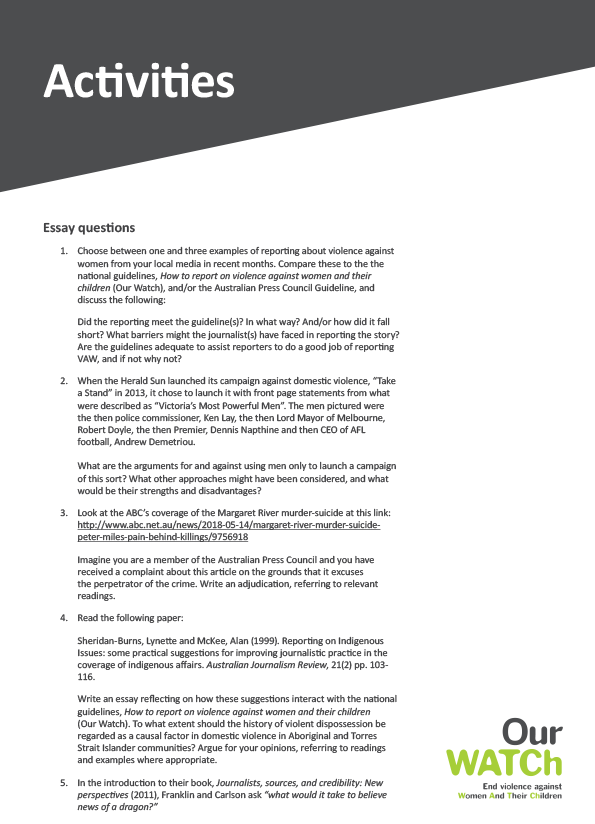 Cover of curriculum material 'Activities' showing dark text on a white background.