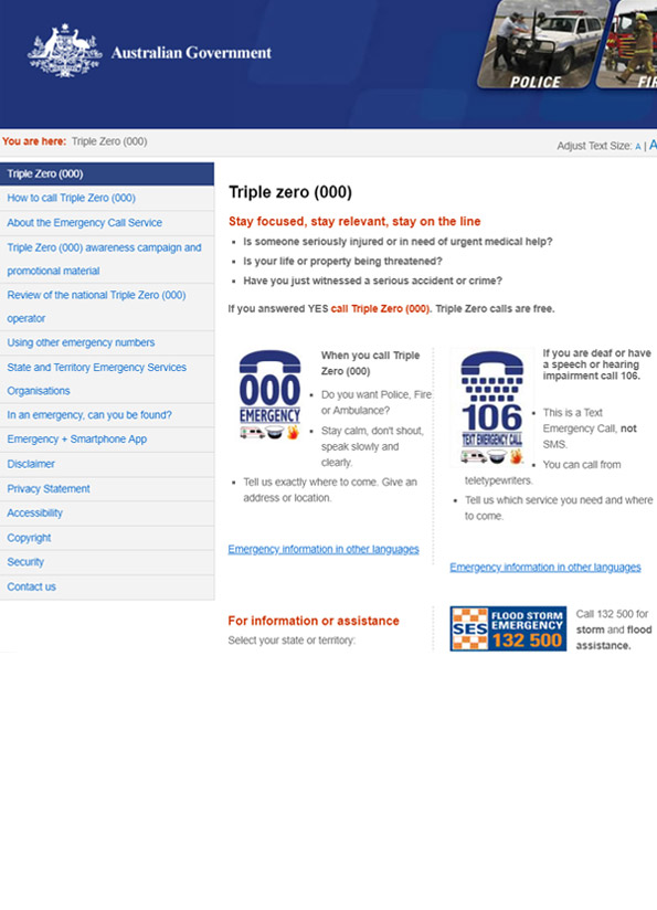 Screenshot of website, Triple 000 information page for police or ambulance