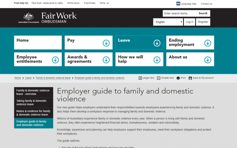 Screenshot of resource website with black, teal and grey colours and text.