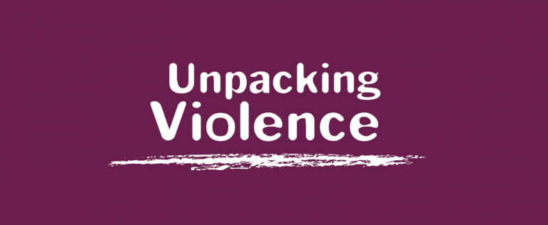 Title 'Unpacking violence' in white text on a purple background.