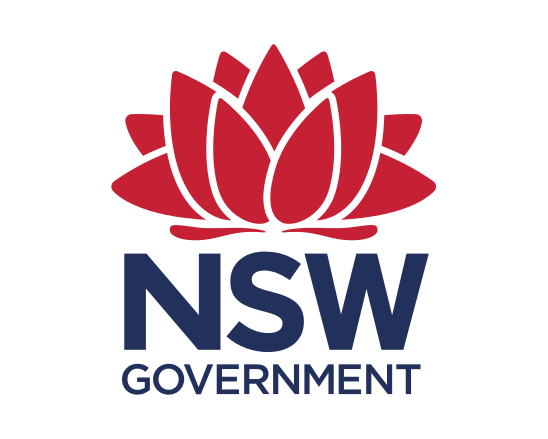 NSW government logo with words in blue and a waratah in red above them.