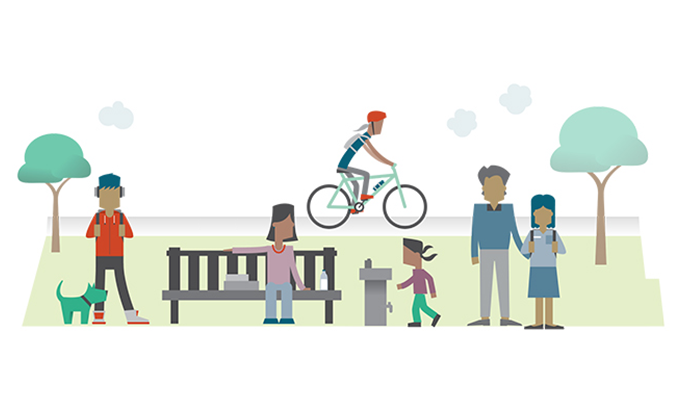 Illustration of different people with brown skin doing recreational activities in a park setting - cycling, running, walking a dog.