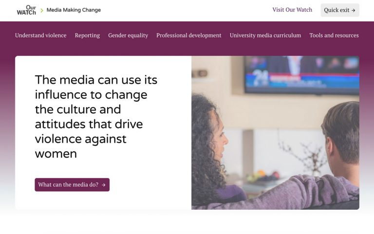 Screenshot of the Media Making Change website. The colours are purple, white and black and there's a main image of a woman with curly hair and a man with a purple jumper sitting on a couch watching television. We see them from behind and they are discussing something.