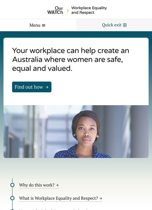Screenshot of the Workplace Equality and Respect website. The colours are teal, white and black and there's an image of a young professional woman with brown skin and a spotted blue shirt standing in a corporate setting.