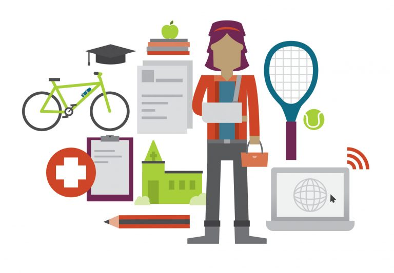 A stylised illustration of a woman with her arm in a sling and symbols of daily life around her such as a tennis raquet, computer, medical symbol, bike, books for studying, a church.