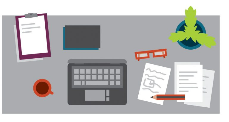 A stylised illustration of a desk seen from above with a laptop, papers, cup of coffee and pencil on it.