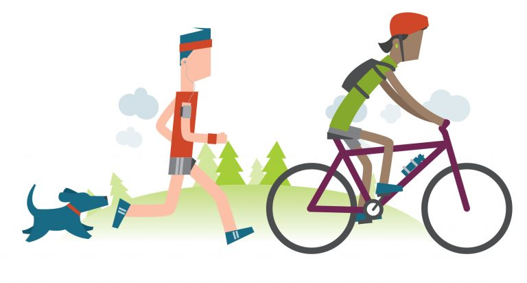 Stylised characters doing exercise. One is riding a bike and the other is jogging. There is a dog running behind them, and trees in the background.
