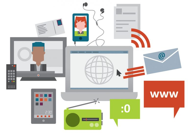 Stylised illustration of objects that symbolise the media such as a computer, a phone, a radio, an email, a tablet, a remote control.