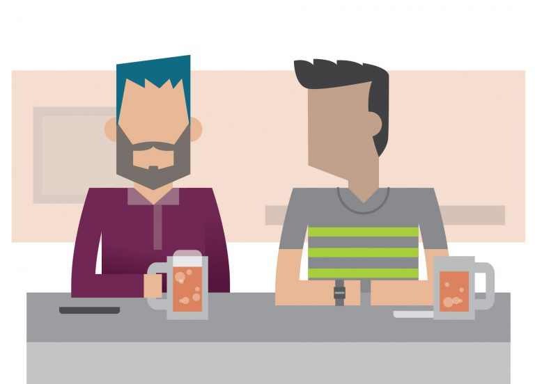 Stylised illustration of two men sitting next to each other with pints of beer in front of them.