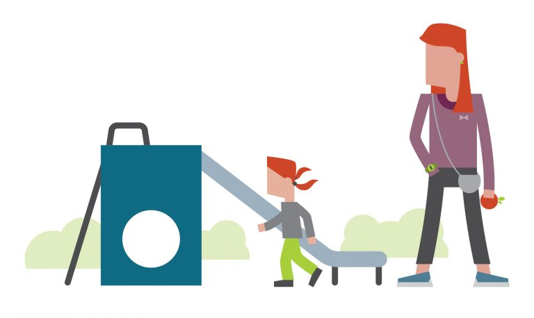 Stylised illustration of a woman and a child at a playground.